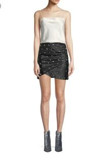 Alice and olivia lamb leather star studded skirt